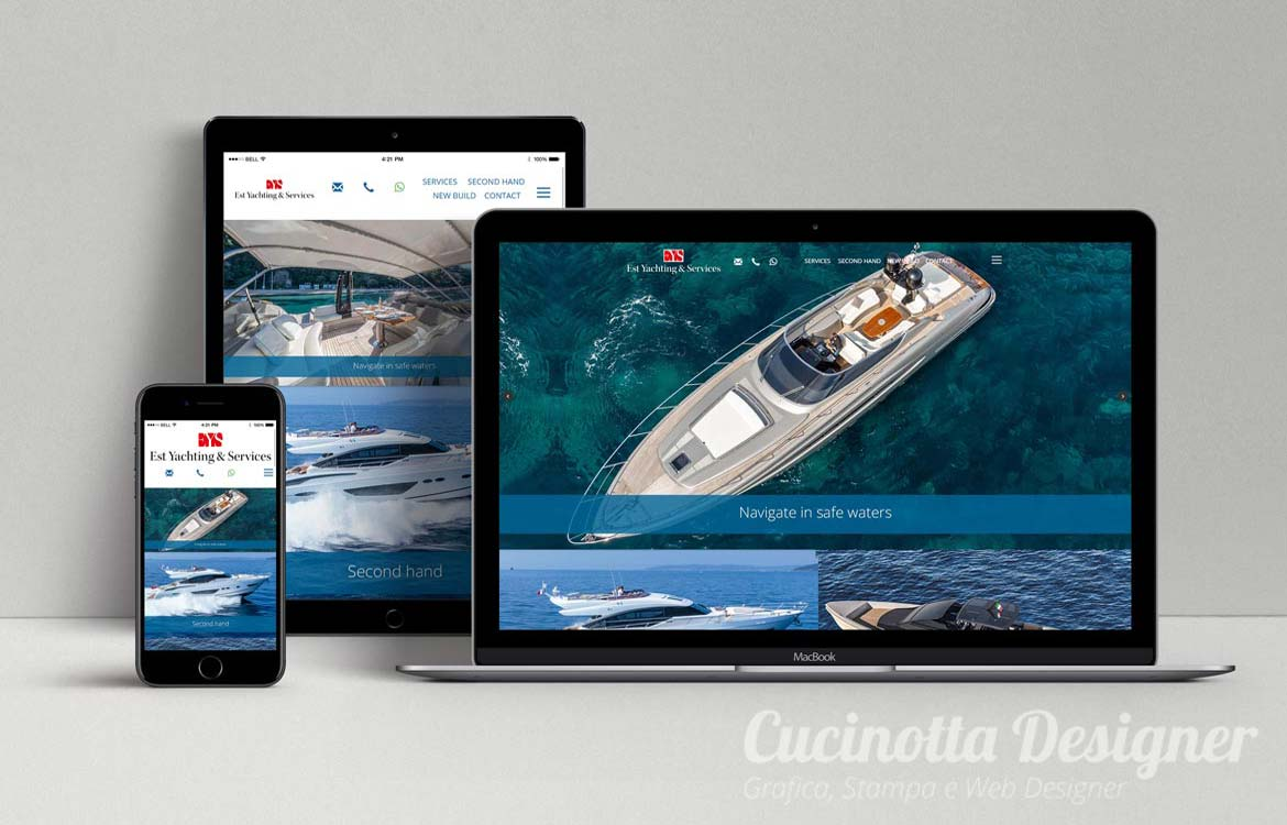 Restyling grafico sito web responsive yacht